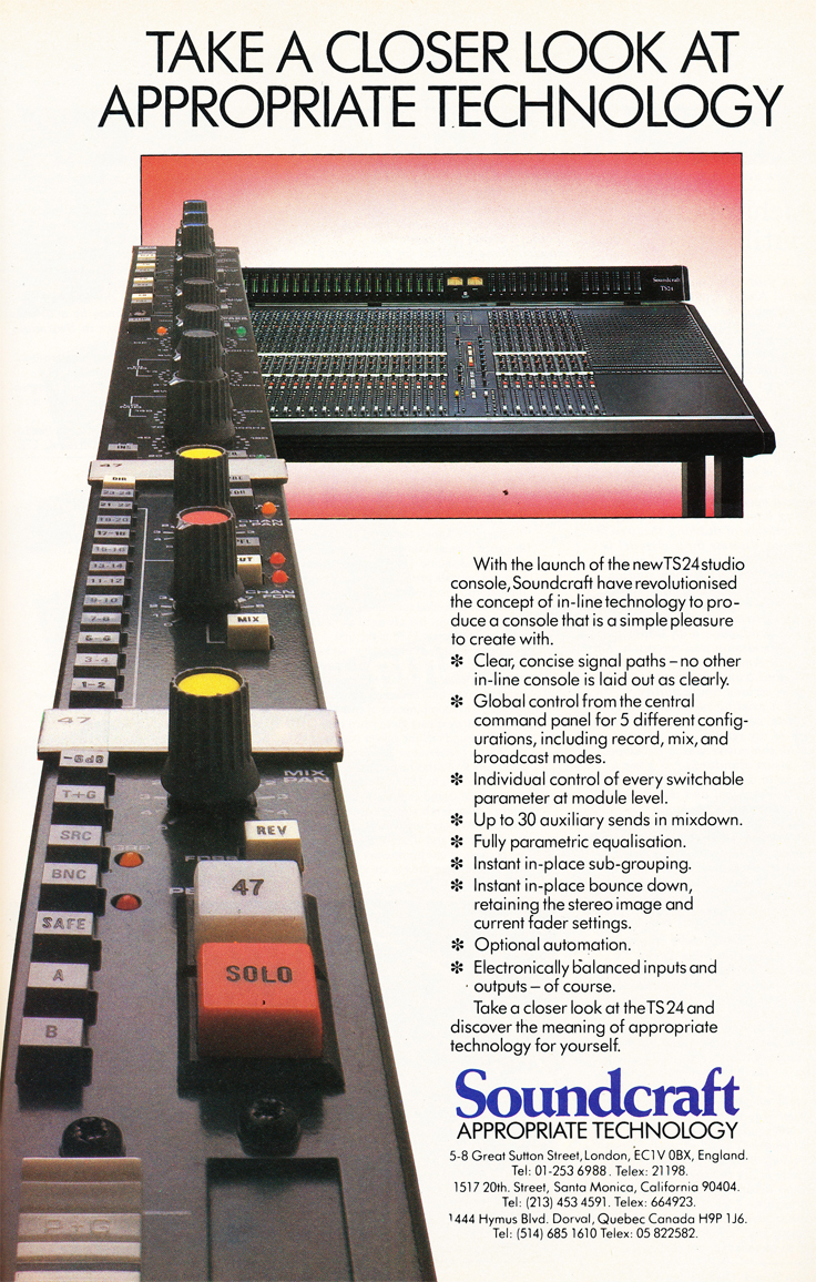 1984 ad for the Soundcraft TS24  mixer  in Reel2ReelTexas.com's vintage recording collection