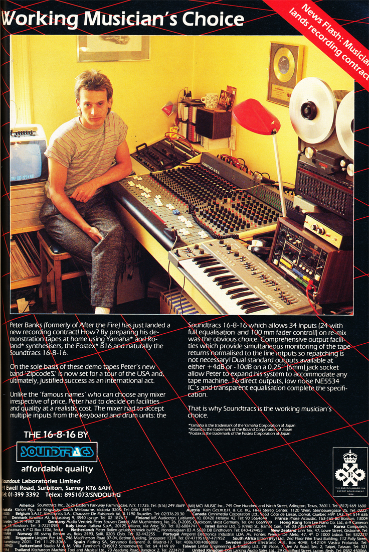 1984 ad for Soundtracs recording consoles in the Reel2ReelTexas.com's vintage recording collection