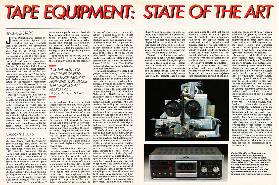 State of the Art Tape Equipment in the March 1984 Stereo Review Tape issue in Reel2ReelTexas.com's vintage recording collection