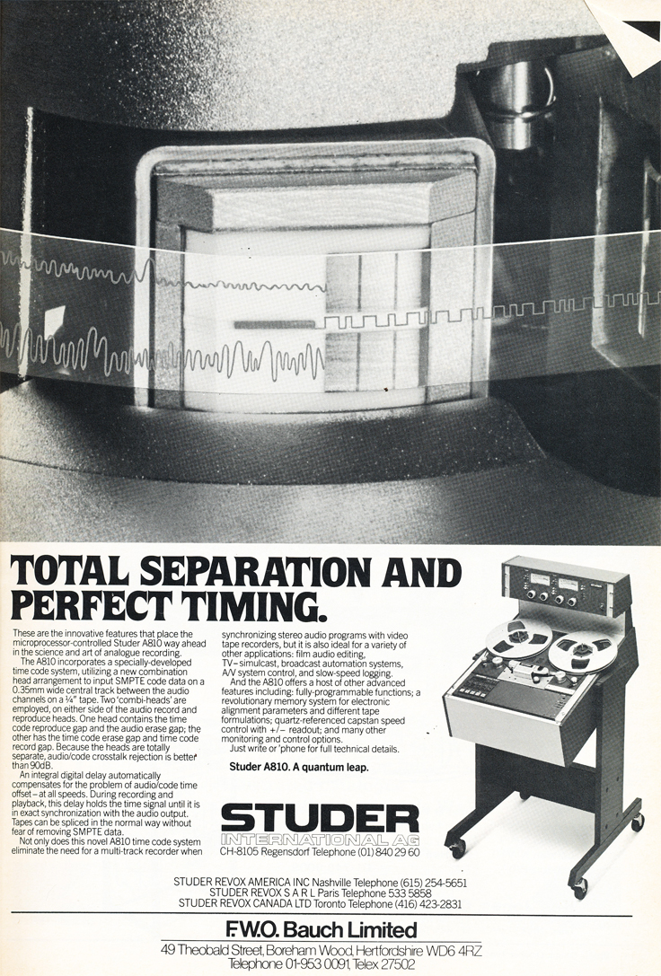 1984 ad for the Studer A810 professional reel to reel tape recorder in the Reel2ReelTexas.com's vintage recording collection