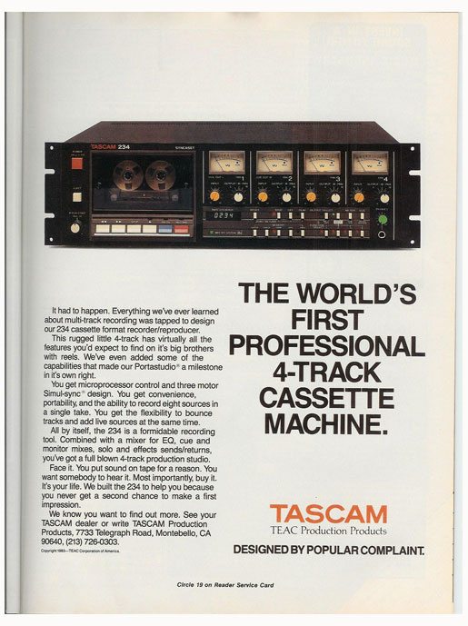 1984 Tascam 234 cassette ad in Reel2ReelTexas' vintage reel to reel tape recorder documentation collection
