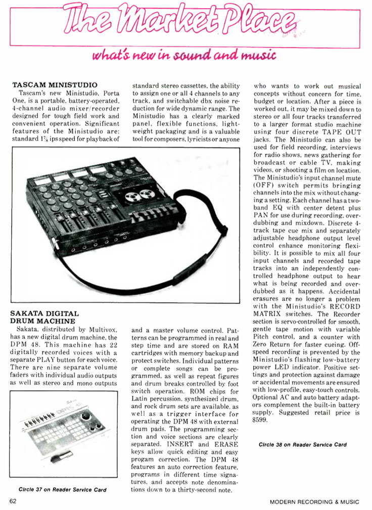 1984 ad for the Tascam MiniStudiocassette ad in Reel2ReelTexas' vintage reel to reel tape recorder documentation collection