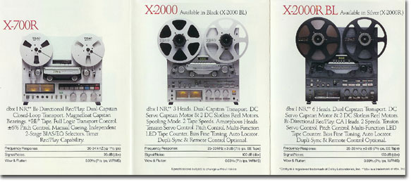 picture of some of the reel to reel Teac recorders available in 1984