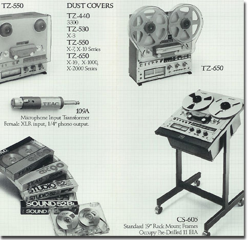 picture of some of the reel to reel Teac recorder assessories  available in 1984