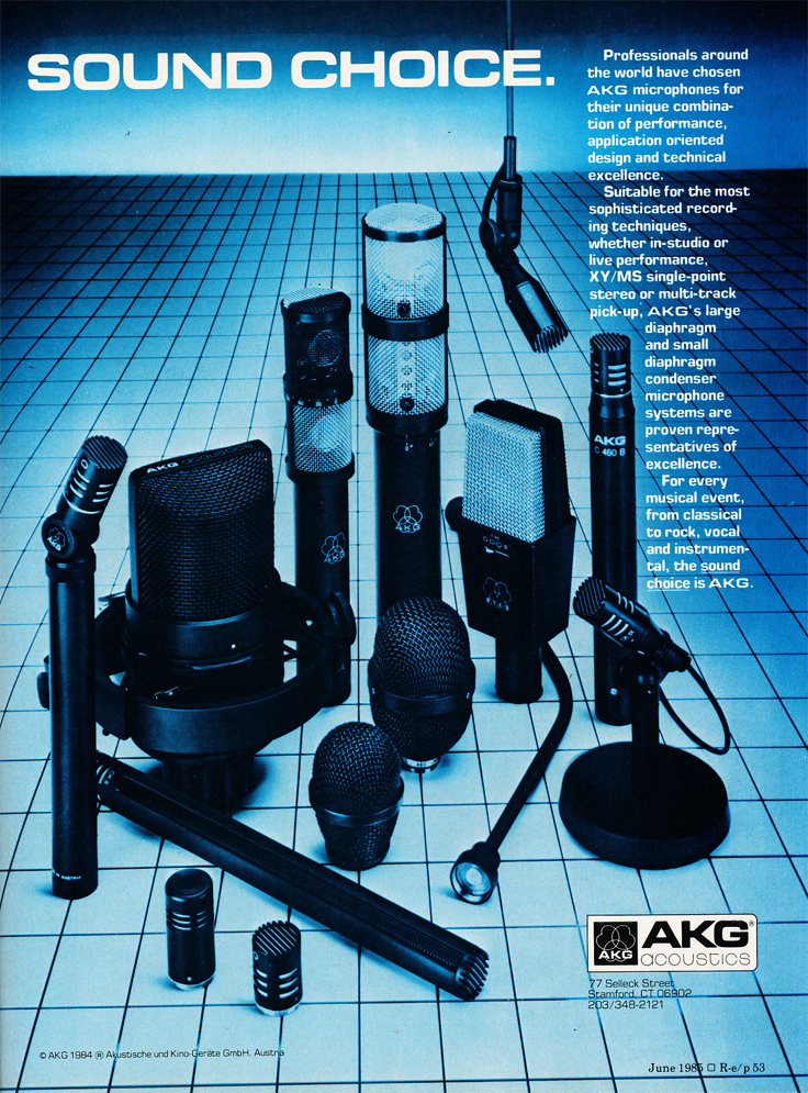 1985 ad for AKG microphones in Reel2ReelTexas.com's vintage recording collection