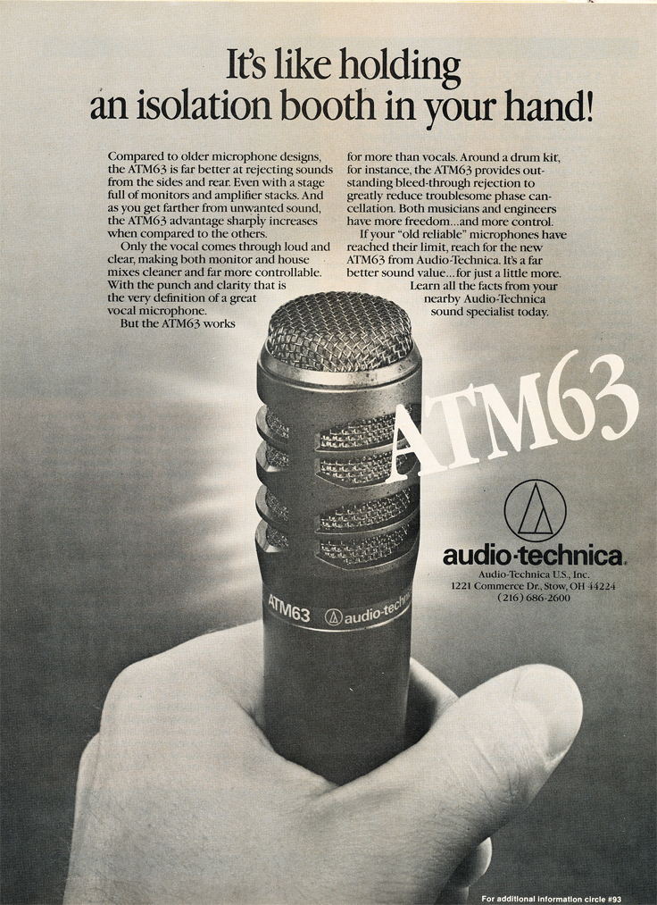1986 ad for Audio Technica microphones in Reel2ReelTexas.com's vintage recording collection