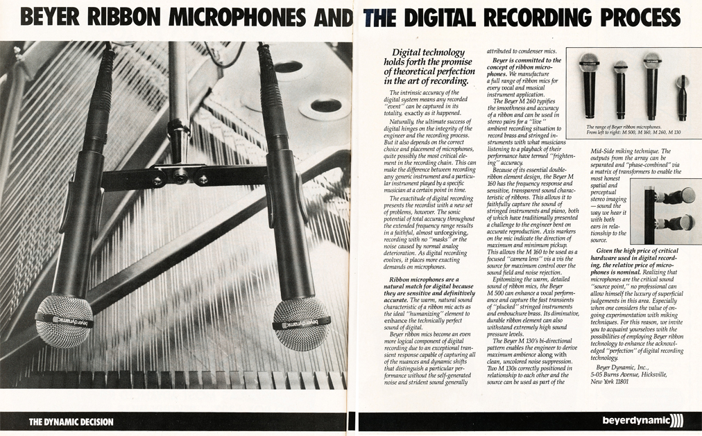 1985 ad for Beyer microphones in Reel2ReelTexas.com's vintage recording collection