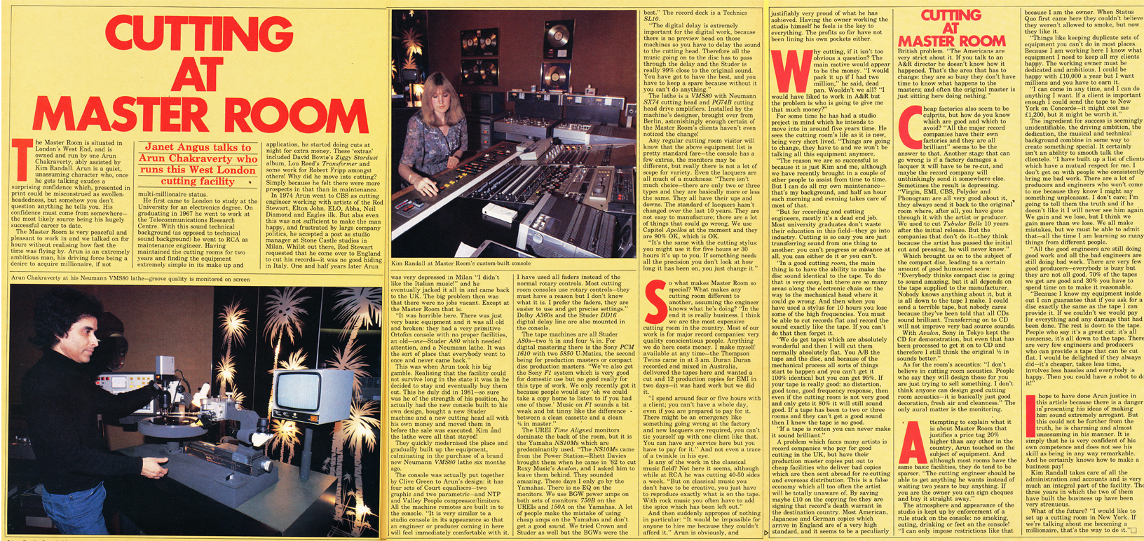 1985 article on Cutting at Master Room