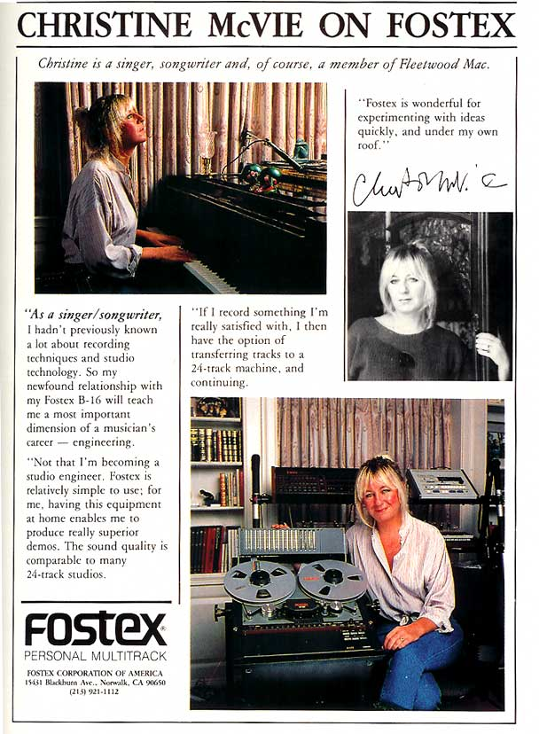 1986 Fostex B-16 ad featuring Christine McVie  in Reel2ReelTexas' vintage tape recorder collection