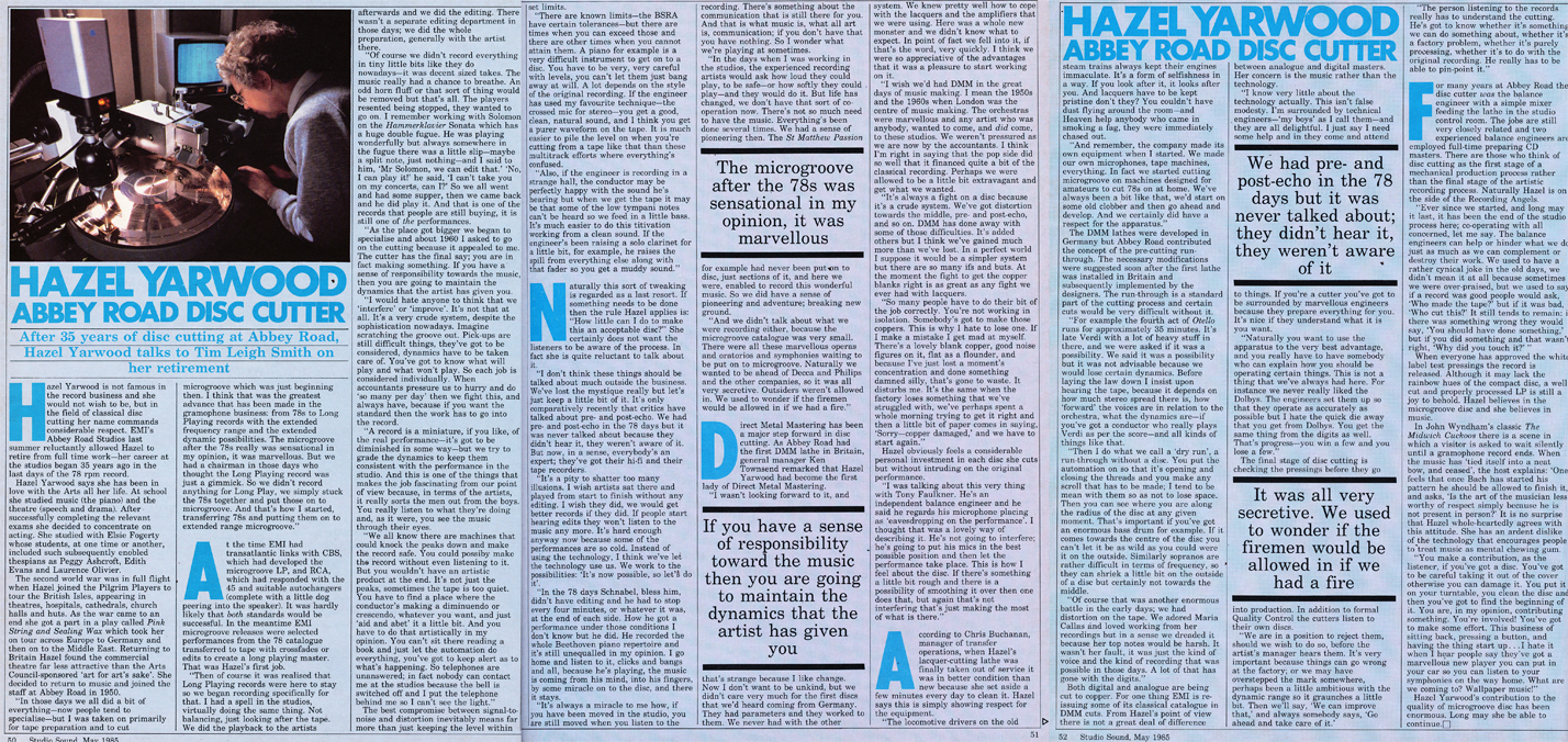 1985 article on Hazel Yarwood history of cutting at Abbey road Studios