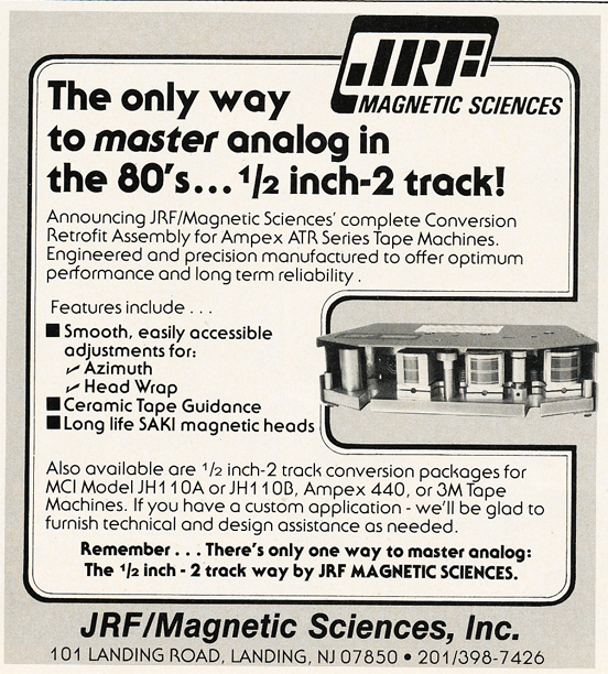 1985 ad for JRF Magnetic Sciences in Reel2ReelTexas.com's vintage recording collection