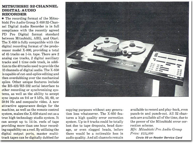 picture of Mitsubitshi reel tape recorder ad from 1985