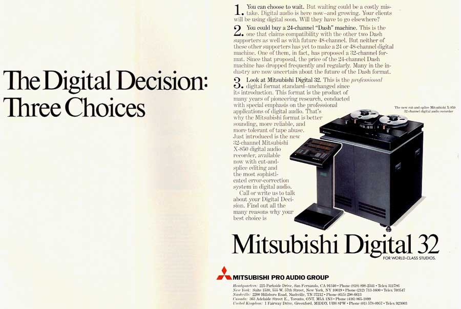 Mitsubishi Digital 32 ad from 1985 in Reel2ReelTexas' vintage tape recorder collection