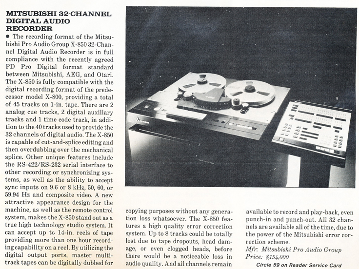 1985 ad for the Mitsubitshi 32 track digital audio recorder in Reel2ReelTexas.com's vintage recording collection
