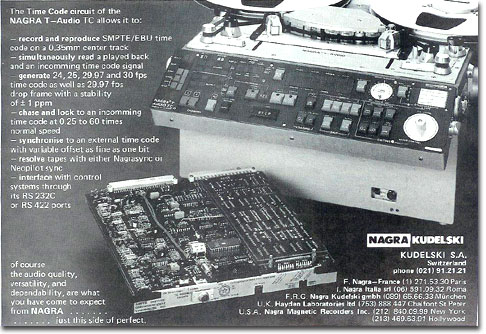picture of 1985 Nagra tape recorder ad