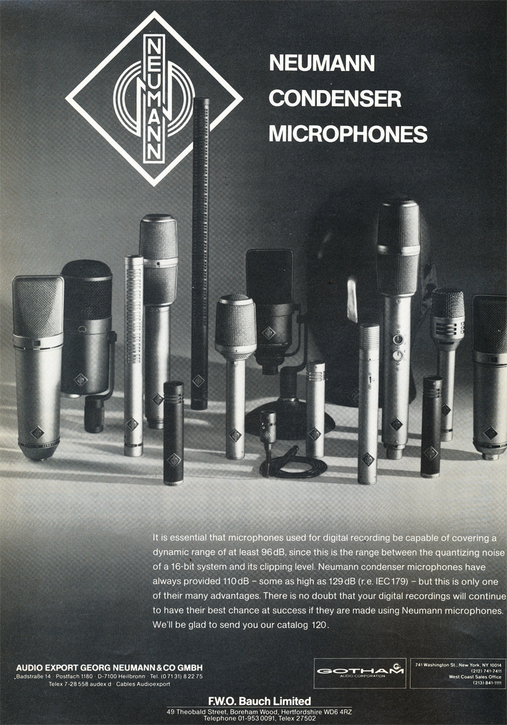1985 ad for Neumann microphones in Reel2ReelTexas.com's vintage recording collection
