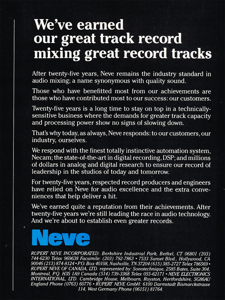 1985 ad for Neve consoles in Reel2ReelTexas.com's vintage recording collection