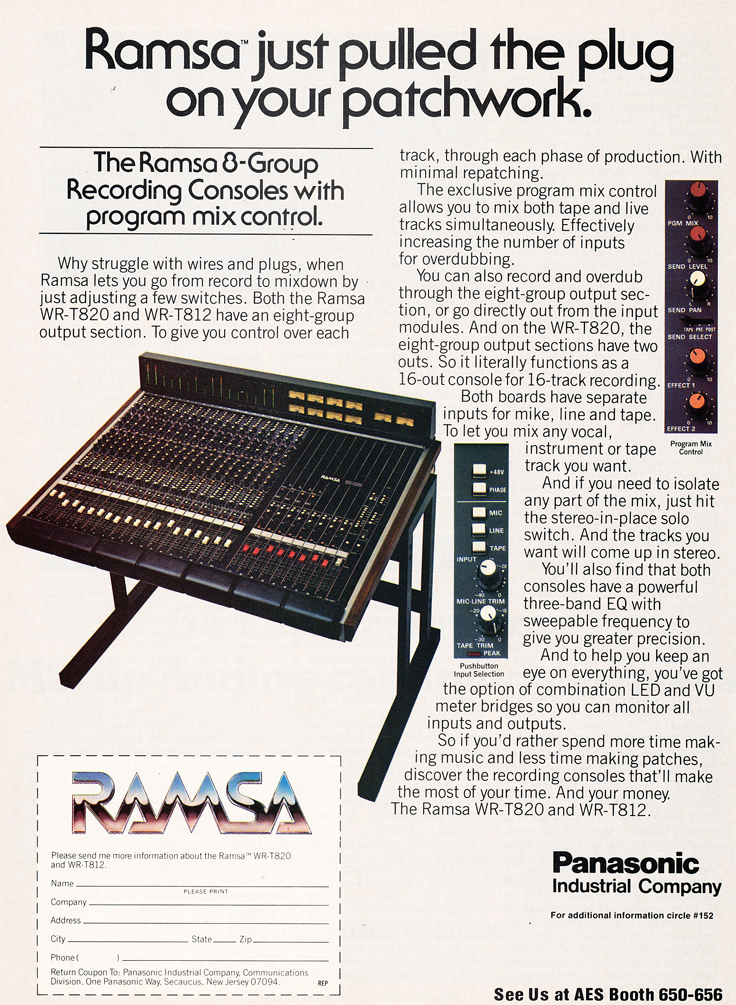 1985 ad for Panasonic Ramsa consoles in Reel2ReelTexas.com's vintage recording collection