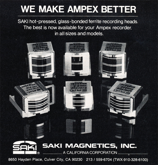 1985 ad for Saki Magnetics in Reel2ReelTexas.com's vintage recording collection