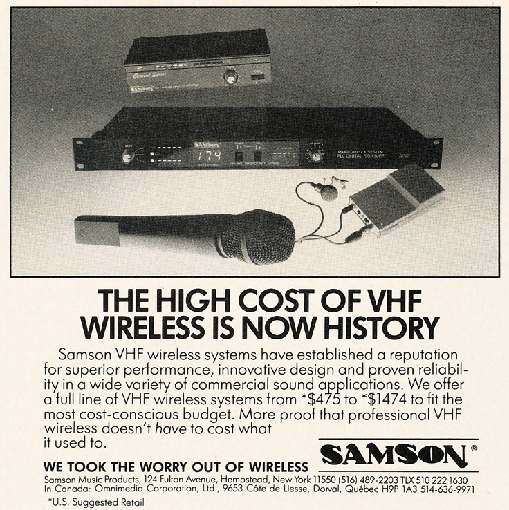 1985 ad for Samson wireless mics in Reel2ReelTexas.com's vintage recording collection