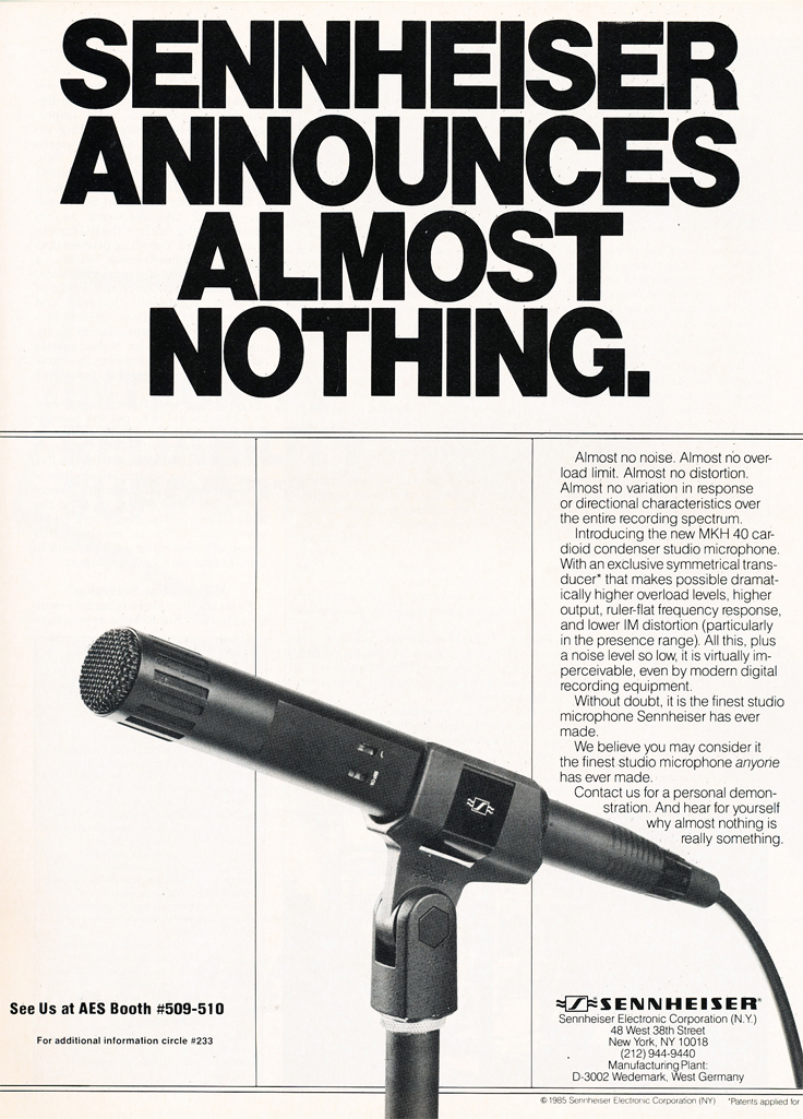 1985 ad for Sennheiser CH40 microphone in Reel2ReelTexas.com's vintage recording collection