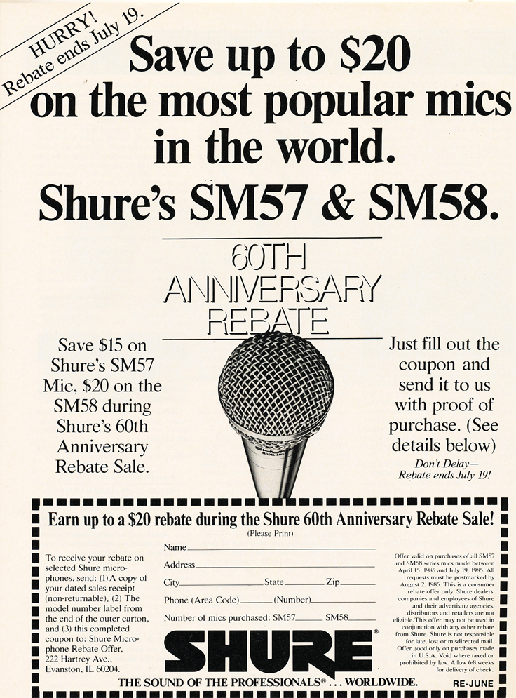 1985 ad for Shure microphones in Reel2ReelTexas.com's vintage recording collection