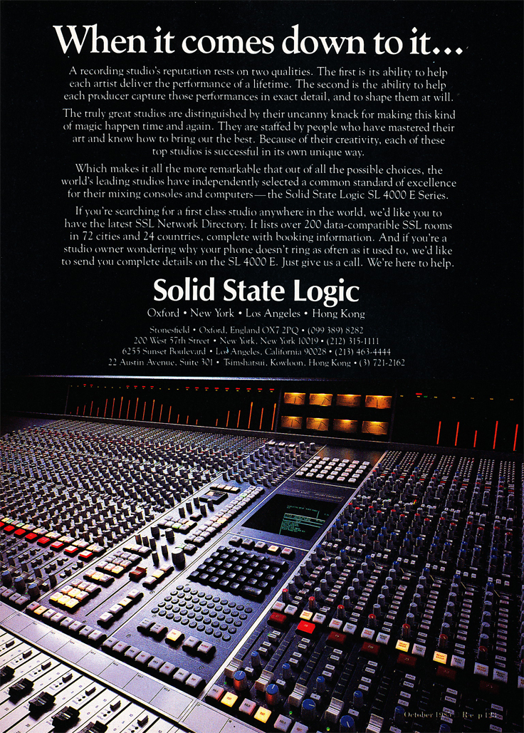 1985 ad for Solid State consoles in Reel2ReelTexas.com's vintage recording collection