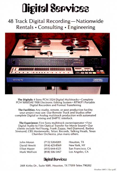 1985 Sony digital ad in Reel2ReelTexas' vintage recording collection