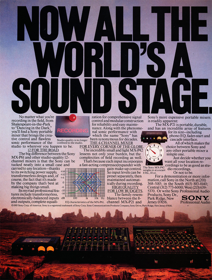 1985 ad for Sony mixers in Reel2ReelTexas.com's vintage recording collection