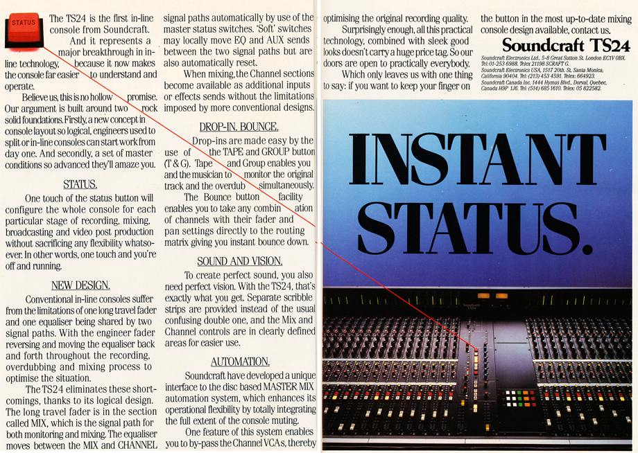 1986 ad for the Soundcraft TS24 mixer  in Reel2ReelTexas.com's vintage recording collection