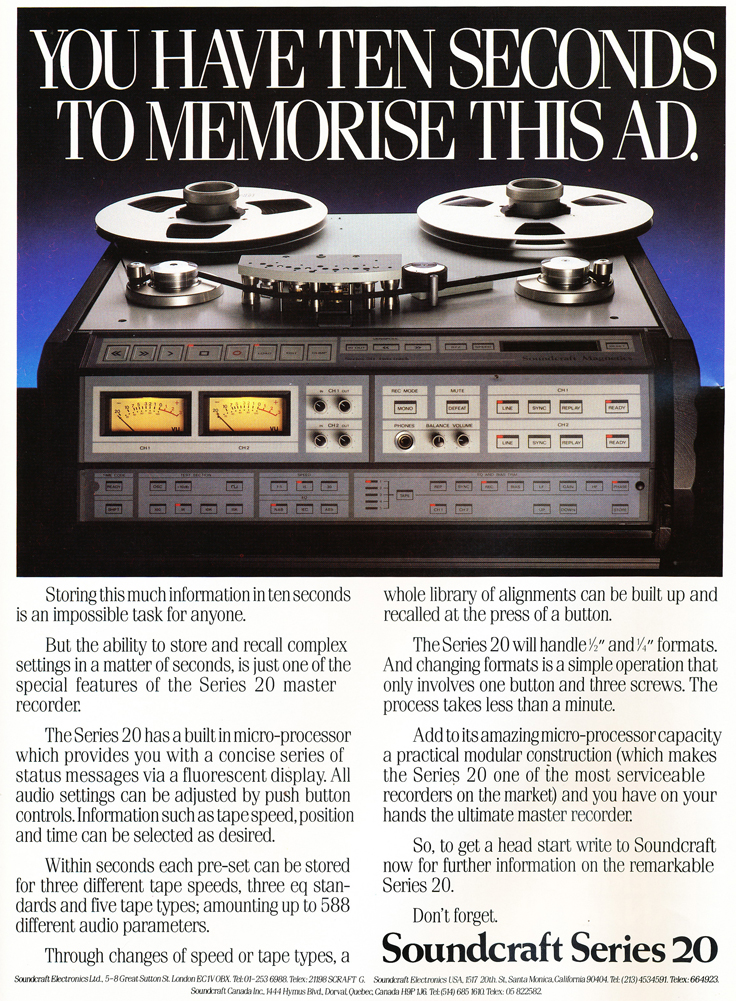 1985 ad for Soundcraft's Series 20 reel to reel tape recorders in Reel2ReelTexas.com's vintage recording collection