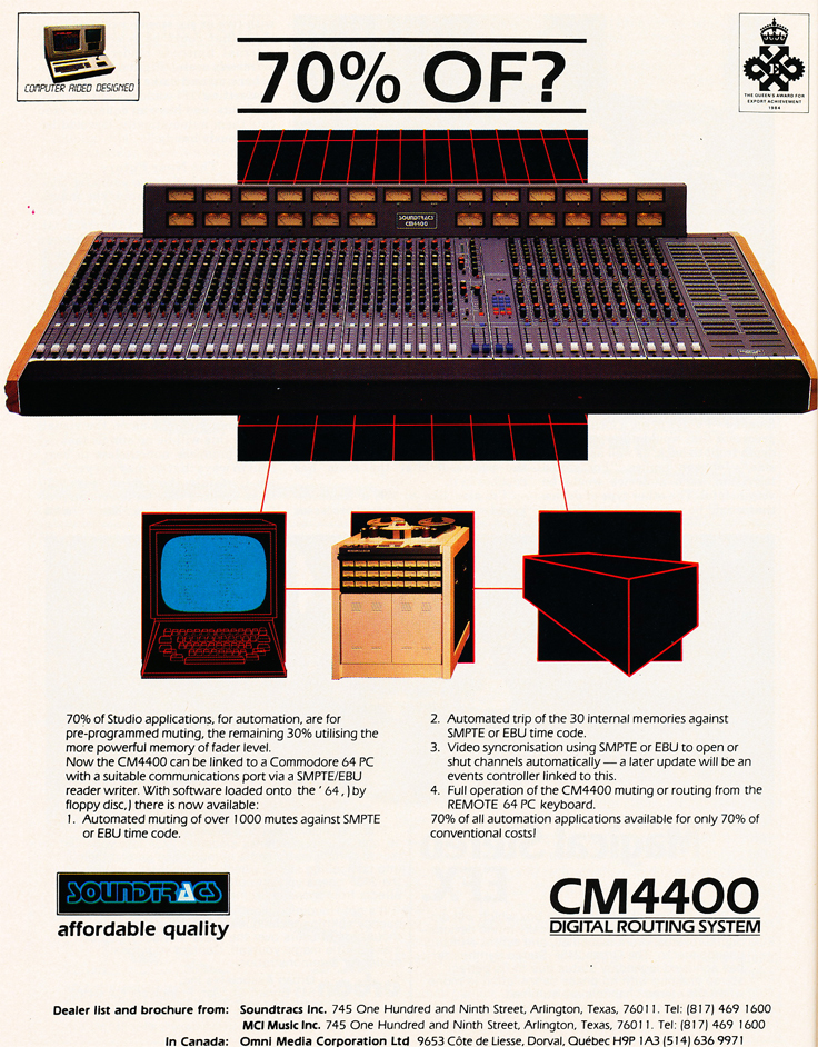 1985 ad for Soundtracs mixers in Reel2ReelTexas.com's vintage recording collection