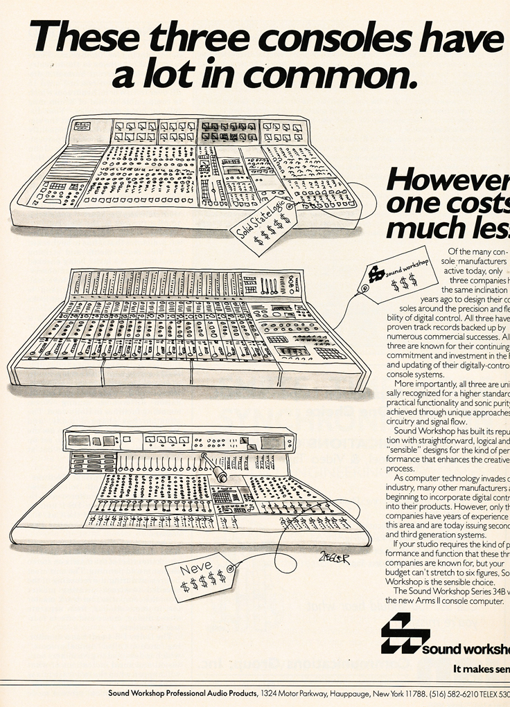 1985 ad for Sound Workshop mixers in Reel2ReelTexas.com's vintage recording collection