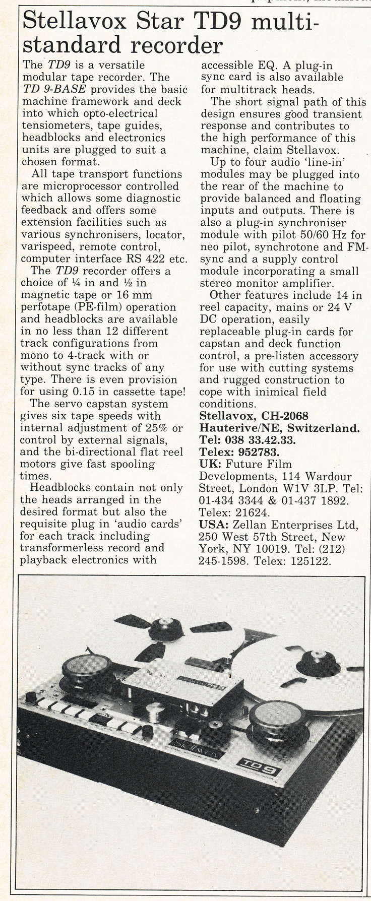 1985 ad for the StellaVox TD9 reel to reel tape recorder in Reel2ReelTexas.com's vintage recording collection
