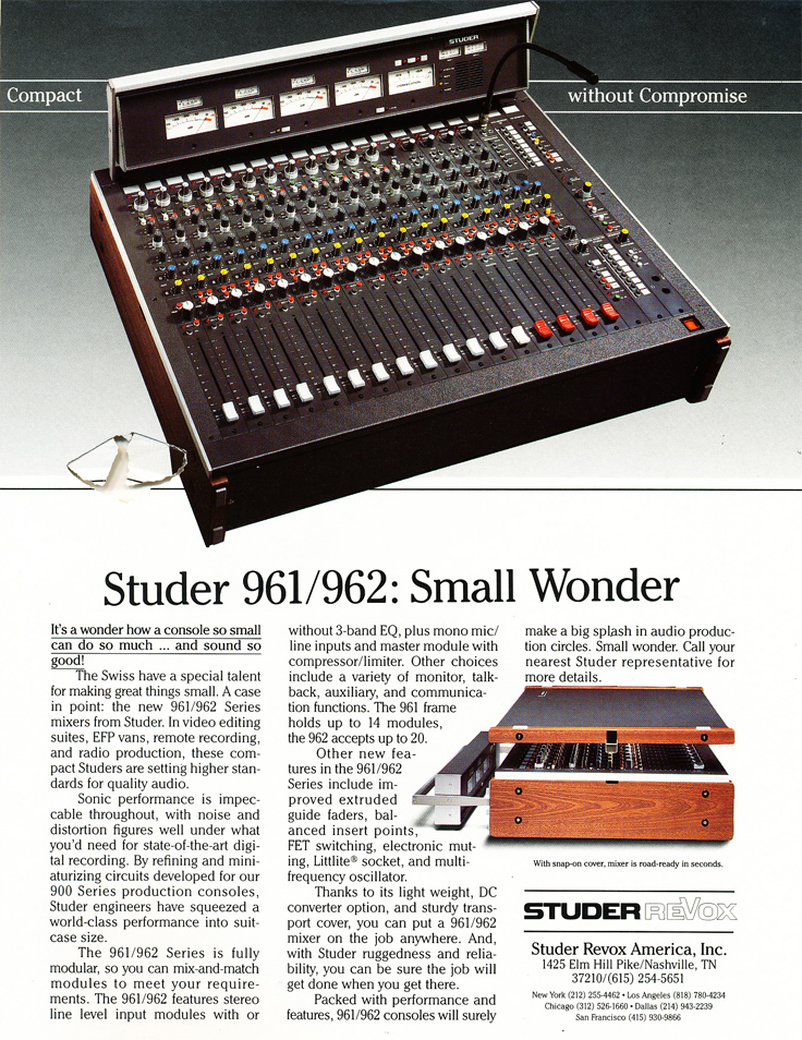 1985 ad for the Studer 961 mixer in Reel2ReelTexas.com's vintage recording collection