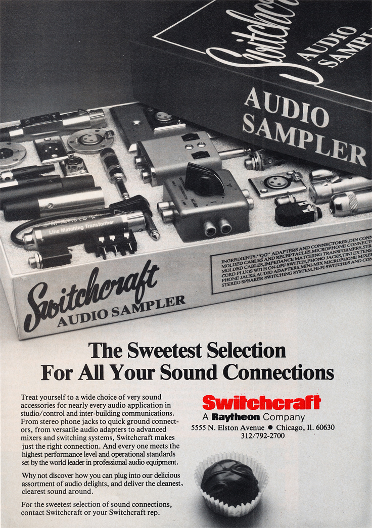 1985 ad for Switchcraft recording accessories in Reel2ReelTexas.com's vintage recording collection