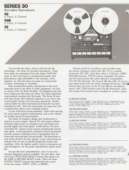 1985 Tascam brochure featuring the Series 30, Series 40, Series 50, the MS-16 professional reel to reel tape recorders, the Model M-106 and M-2A mixers and Teac Tascam accessories in the Reel2ReelTexas.com's vintage recording collection