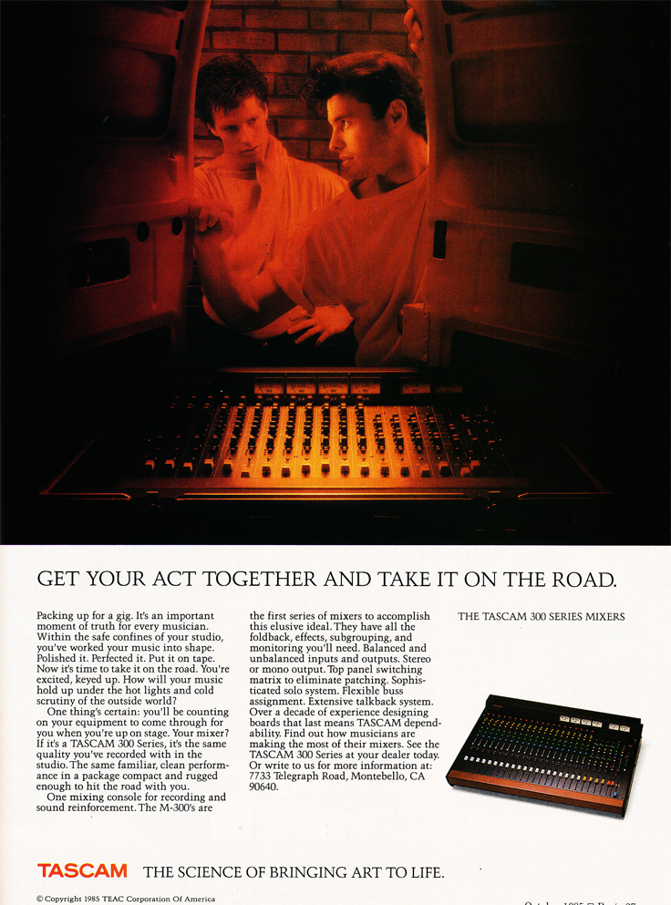 1985 ad for the Tascam 300 Series mixer in Reel2ReelTexas.com's vintage recording collection