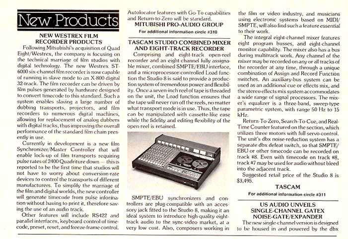 1985 Tascam 388 tape recorder ad in Phantom Poductions vintage recording collection
