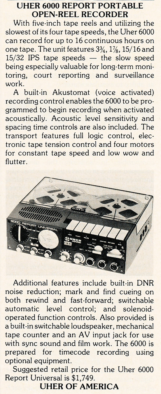 1985 ad for the Uher 6000 reel to reel tape recorder in Reel2ReelTexas.com's vintage recording collection