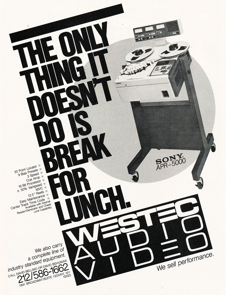 1985 ad for Westec  in Reel2ReelTexas.com's vintage recording collection
