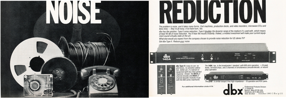 1985 ad for dbx in Reel2ReelTexas.com's vintage recording collection