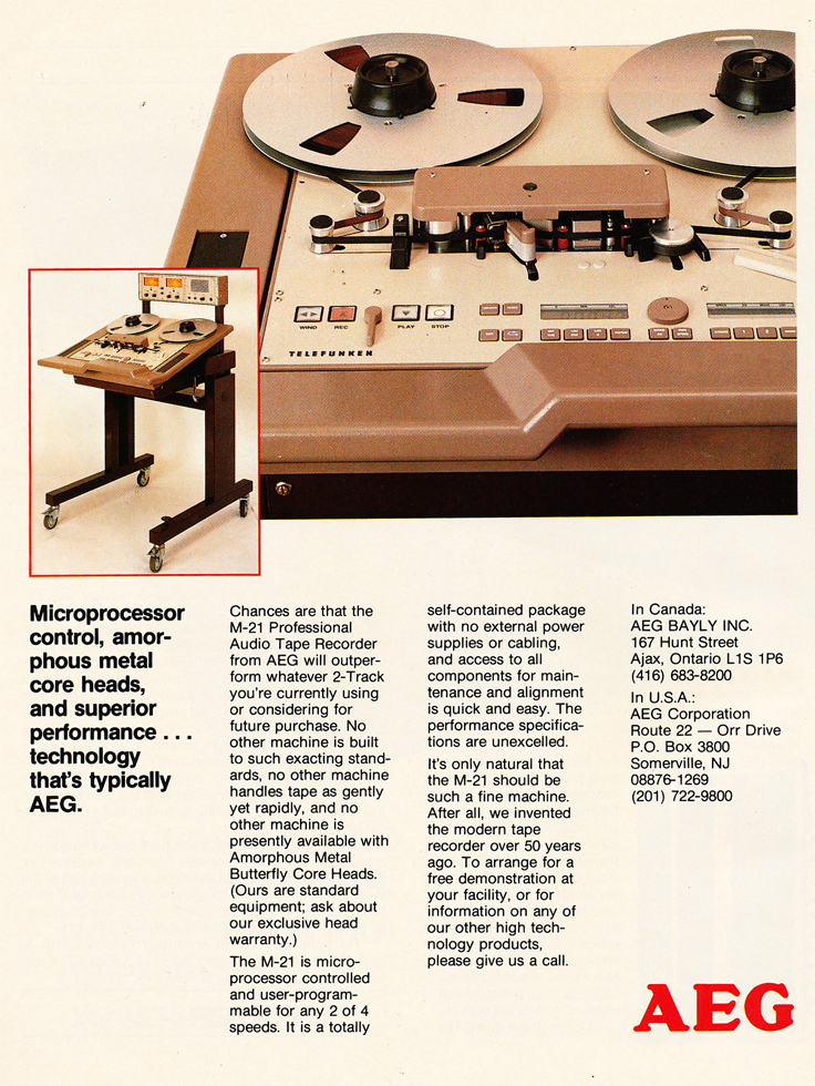 1986 ad for the AEG M-21 professional reel to reel tape recorder in Reel2ReelTexas.com's vintage recording collection