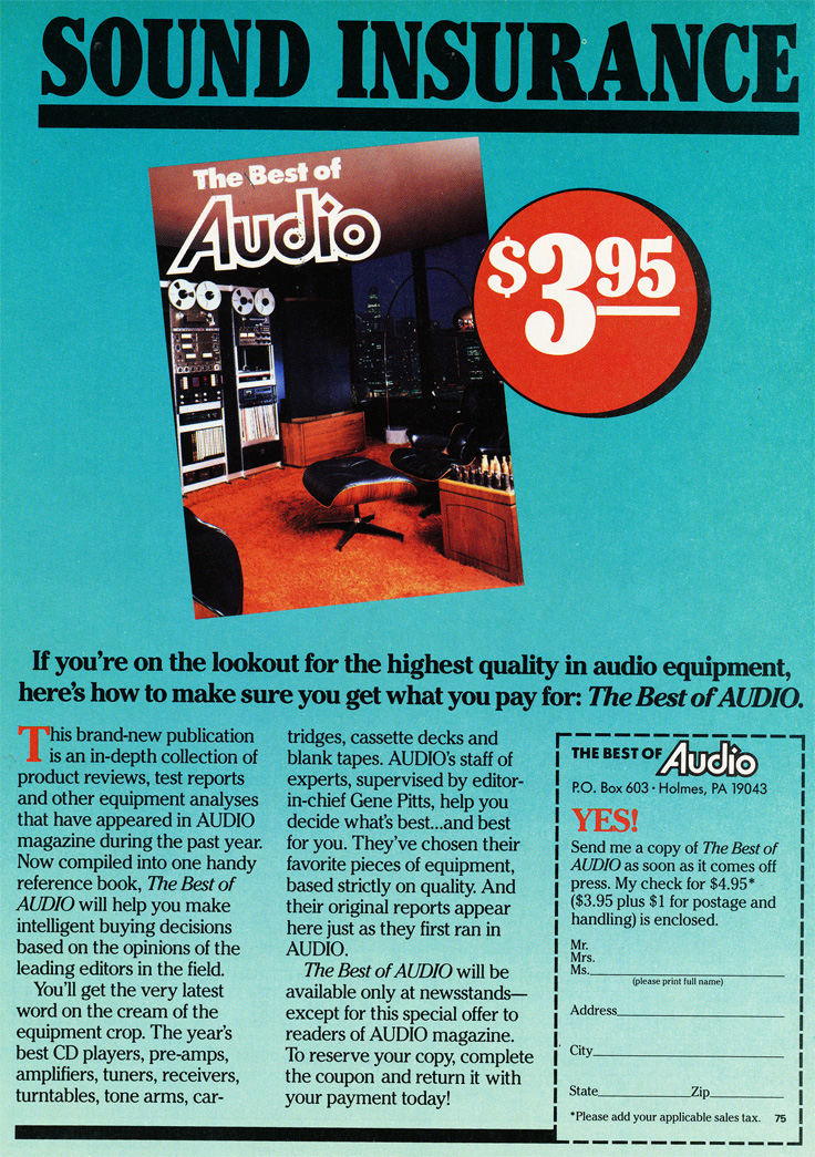 1986 ad for the Audio magazine showing Ampex and Teac reel 2 reel tape recorders in Reel2ReelTexas.com's vintage recording collection