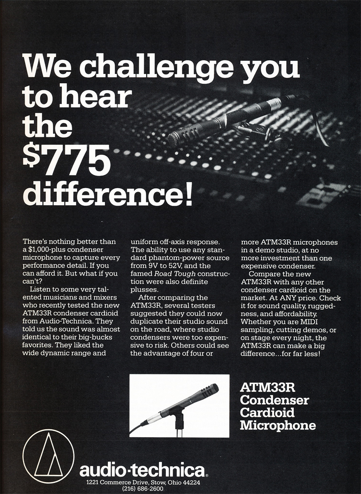 1987 ad for the Audio Technica ATM 33R microphone in Reel2ReelTexas.com's vintage recording collection