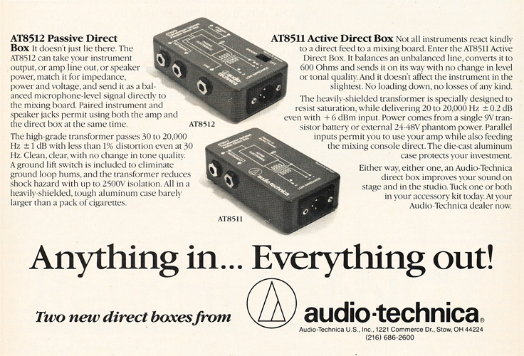 1986 ad for Audio Technica direct boxes in Reel2ReelTexas.com's vintage recording collection
