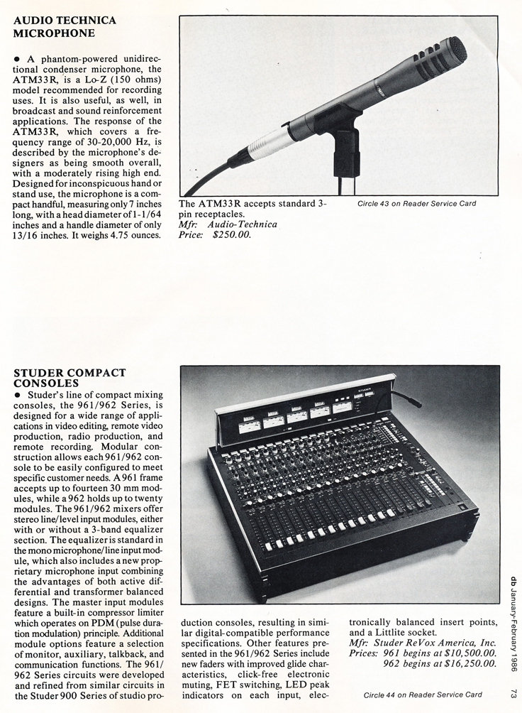 1986 review of Audio Technica microphone and Studer recording console in Reel2ReelTexas' vintage recording collection