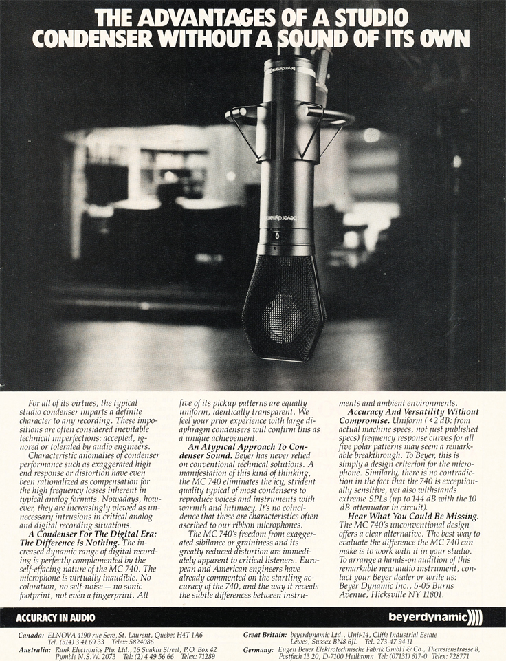 1986 ad for the Beyer MC740 microphone in Reel2ReelTexas' vintage recording collection