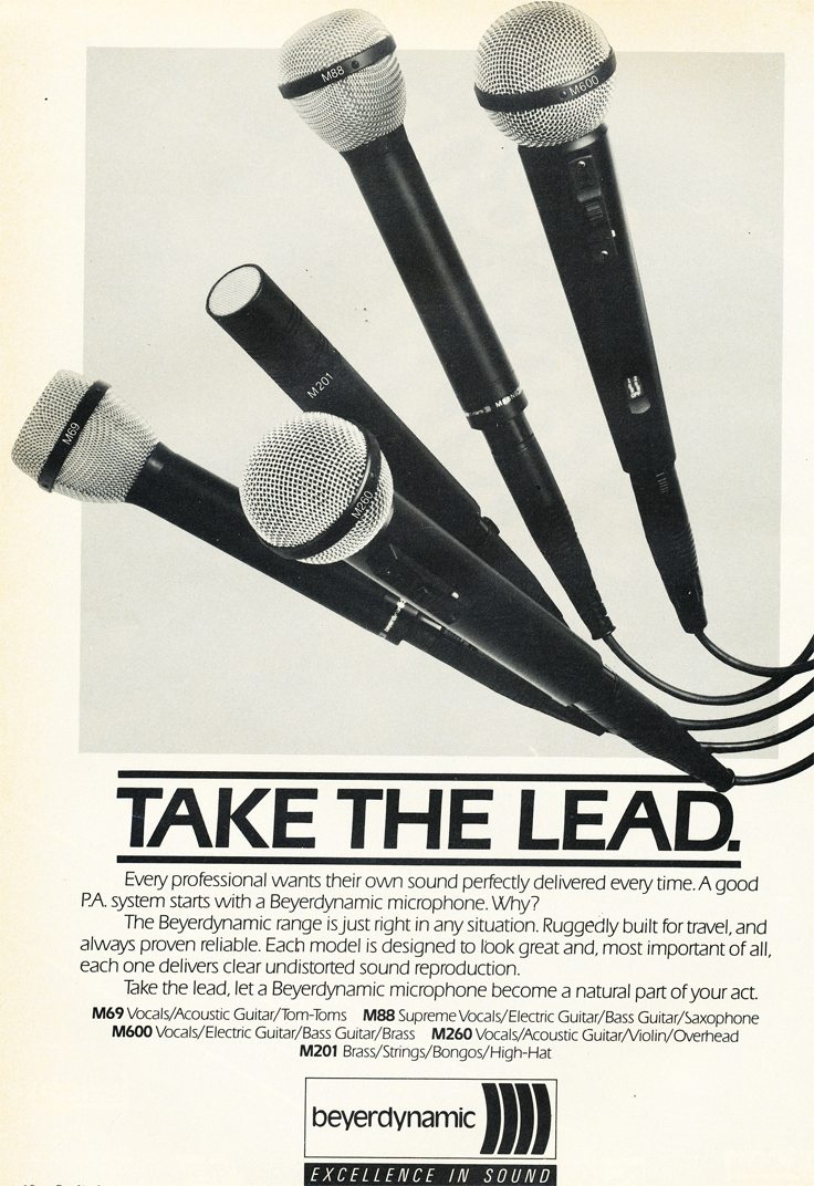 1986 ad for the Beyer microphones in Reel2ReelTexas' vintage recording collection