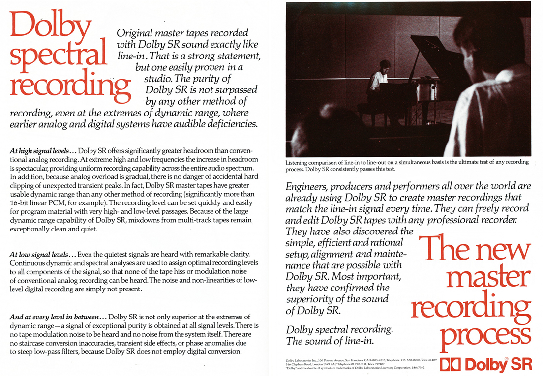 1986 ad for Dolby SR in Reel2ReelTexas' vintage recording collection